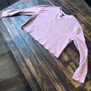 Dusty rose thermal long sleeve crop top